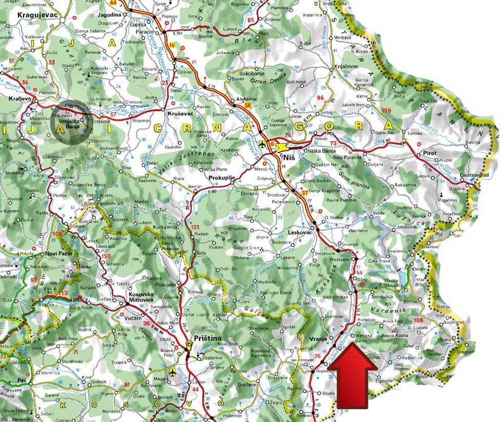 Mapa Vranjska Banja